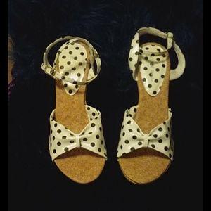 Top Moda heel sandals white with black Polka dot